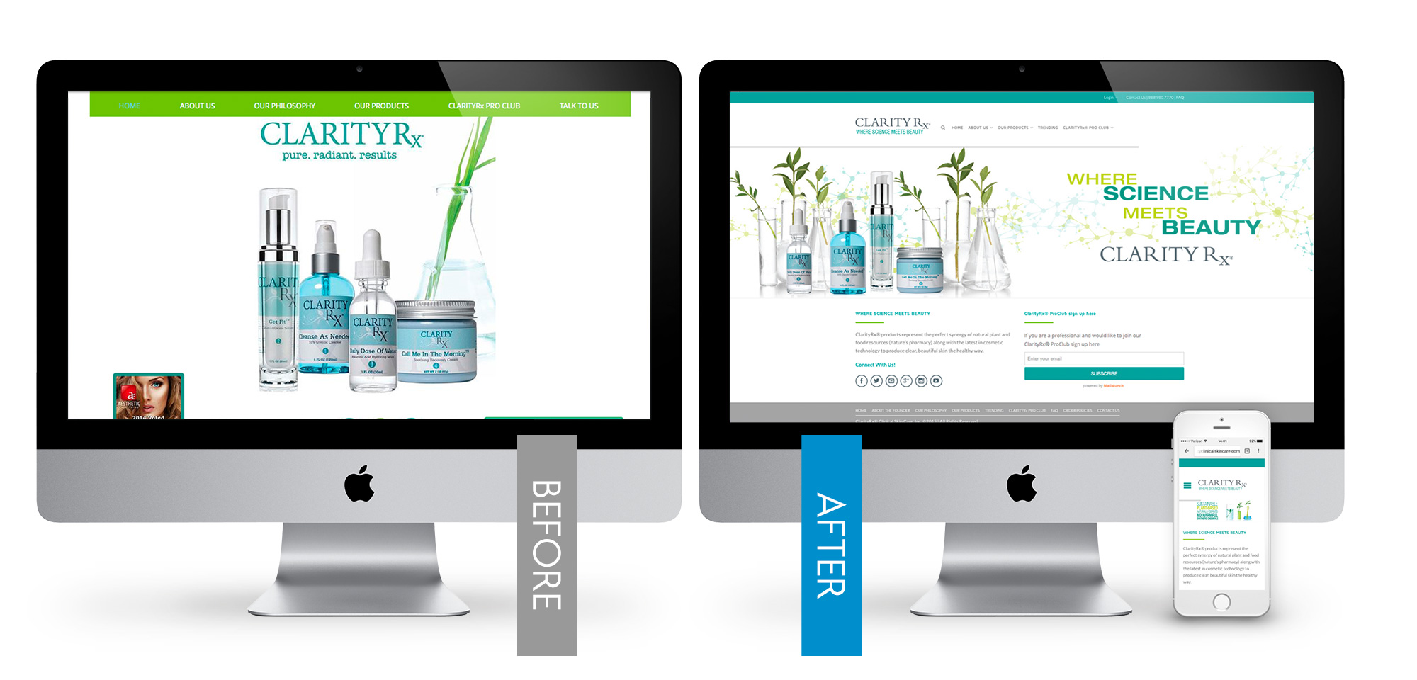 fresh new site & online shop for ClarityRX
